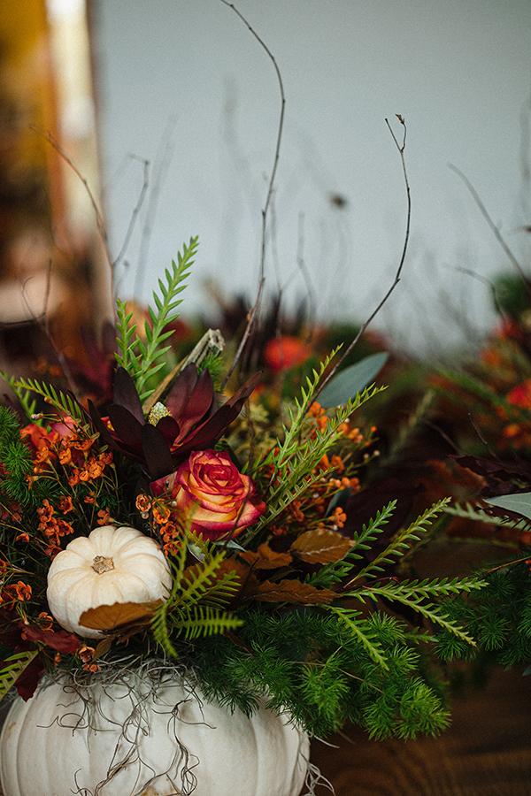 Citrouille blanche centre de table mariage